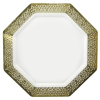 "White and Gold 11"" Plate (10pcs)"