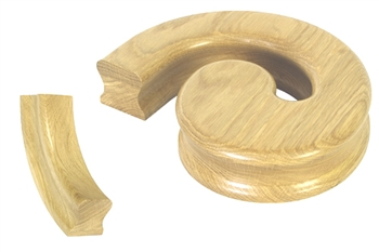 Oak Handrail Left Hand Volute, Including Under Easing