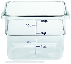 "Food Container, 12 qt, clear ""CamSquare"", 12SFSCW-135 by Cambro."