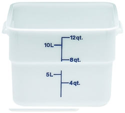 "Food Container, 12 qt, White ""CamSquare Poly"", 12SFSP148 by Cambro."
