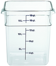 "Food Container, 18 qt, Clear ""CamSquare"", 18SFSCW-135 by Cambro."