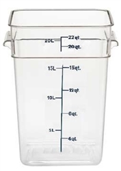 "Food Container, 22 qt, Clear ""CamSquare"", 22SFSCW-135 by Cambro."