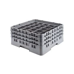 "Glassrack, 25 Comp. w/4 Extenders For 3 1/2"" Dia. x 8 1/2"" H - Gray, 25S800151 by Cambro."