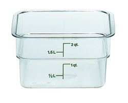"Food Container, 2 qt, clear ""CamSquare"", 2SFSCW-135 by Cambro."