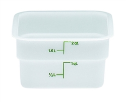 "Food Container, 2 qt, White ""CamSquare Poly"", 2SFSP148 by Cambro."