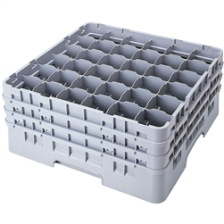 "Glassrack, 36 Comp. For 2 7/8"" Dia. x 8 1/2"" H - Gray, 36S800151 by Cambro."