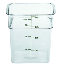 "Food Container, 4 qt, clear ""CamSquare"", 4SFSCW-135 by Cambro."