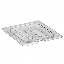 Food Pan Cover, Sixth Size Notched With Handle - Clear, 60CWCHN-135 by Cambro.
