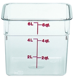 "Food Container, 6 qt, clear ""CamSquare"", 6SFSCW-135 by Cambro."