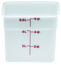 "Food Container, 6 qt, White ""CamSquare Poly"", 6SFSP148 by Cambro."