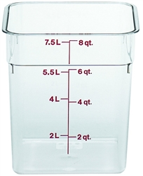 "Food Container, 8 qt, clear ""CamSquare"", 8SFSCW-135 by Cambro."