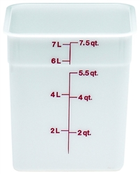 "Food Container, 8 qt, White ""CamSquare Poly"", 8SFSP148 by Cambro."