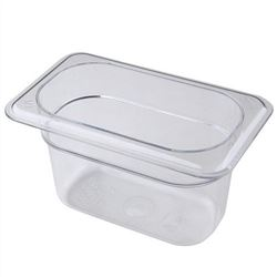"Cold Food Pan, Plastic - Ninth Size 4"" Deep - Clear, 94CW-135 by Cambro."