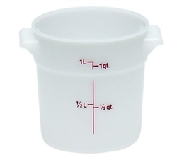 Food Container, 1qt Round - White, RFS1148 by Cambro.