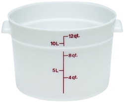 Food Container, 12qt Round - White, RFS12148 by Cambro.