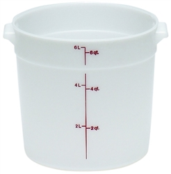 Food Container, 6qt Round - White, RFS6148 by Cambro.