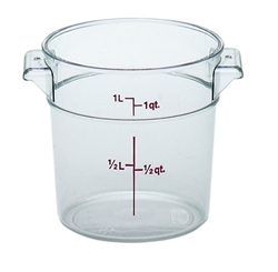 Food Container, 1qt Round - Clear, RFSCW1-135 by Cambro.