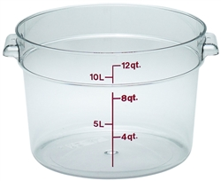 Food Container, 12qt Round - Clear, RFSCW12-135 by Cambro.