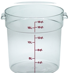 Food Container, 18qt Round - Clear, RFSCW18-135 by Cambro.