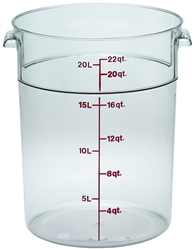 Food Container, 22qt Round - Clear., RFSCW22-135 by Cambro.