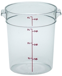 Food Container, 4qt Round - Clear, RFSCW4-135 by Cambro.