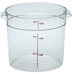 Food Container, 6qt Round - Clear, RFSCW6-135 by Cambro.