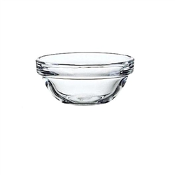 "Bowl, Glass ""Arcoroc"" 3"" Diameter, Stackable, E9156 by Cardinal."