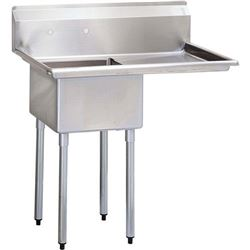 "Sink, Kitchen, 1 Compartment 18"" x 18"", 1 Drainboard 18"" Right, CC1-18R by California Cooking."