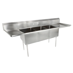 "Sink, Kitchen, 3 Compartments 18"" x 18"", 2 Drainboards 18"", CC3-18 by California Cooking."