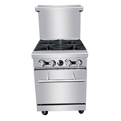 "Commercial 24"" Gas Range, 4 Burners with 20"" Oven - PR-4B by CCK"