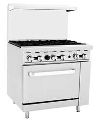 "Range, 36"" 6 Burners   Large Oven - NAT Gas - ATO-6B-N by Atosa."