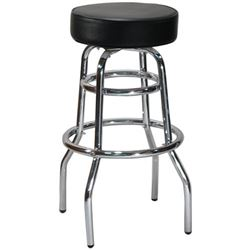 Bar Stool, Double Ring Chrome Swivel Black Upholstered Seat, 3301B by DHC Enterprise.