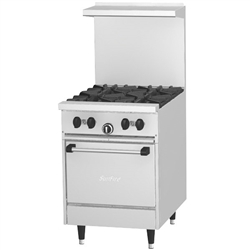 "Range, 24"" ""Sunfire Series"" 4 Burners, 20"" Oven - Nat. Gas, X24-4L-NAT by U.S. Range."