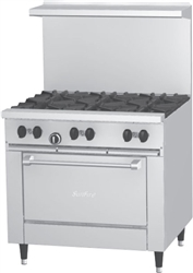 "Range, 36"" ""Sunfire Series"" 6 Burners, Large Oven - Nat. Gas, X36-6R-NAT by U.S. Range."
