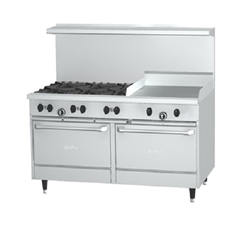 "Range, 60"" ""Sunfire Series"" 6 Burners, 24"" Griddle, 2 Large Standard Ovens - Nat. Gas, X60-6G24RR-NAT"