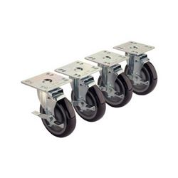 "Universal Plate Casters, 4"" X 4"", 5"" Wheels With Brakes, 28-107S by Krowne."