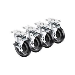 "Universal Plate Casters, 2-3/8"" X 3-5/8"", 5"" Wheels With Brakes, 28-113S by Krowne."