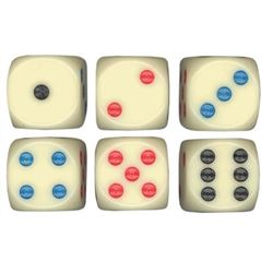 "Dice, Colored, 3/4"" Rounded - Set of 5, DIE-RND34-MRI by Luckicup."