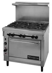 "Range, 36"" Restaurant Series 6 Burners 1 Convection Oven NAT- VT26-6 by Montague."