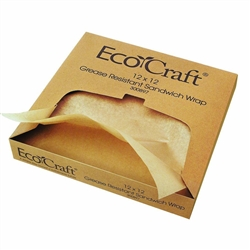 "Sandwich/Deli Wrap and Liner, Natural Grease-Resistant 12"" x 12"", Case of 1,000, 16400897 by Papercraft."