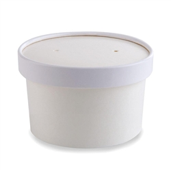 Food Container, 8-10 oz Disposable Round Paper With Lids, 250/Case - White, 71842 by Papercraft.