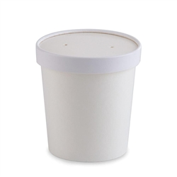 Food Container, 16 oz Disposable Round Paper With Lids, 250/Case - White, 71844 by Papercraft.
