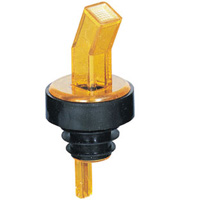 "Pourer, ""Ban-M "" Screened Pourer - Amber With Black Collar , 313-06 by Spill-Stop."