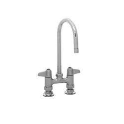 "T & S Brass Equip. Faucet, Deck Mounted, 5 1/2"" Swivel Gooseneck, 4"" Center Model 5F-4DLX05"