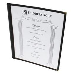 "Menu Cover, Clear Single Panel Booklet Style 8 1/2"" x 11"" - Black Trim, PLMENU-1BL by Thunder Group."