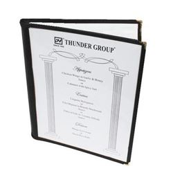 "Menu Cover, Clear 2 Panel Booklet Style 8 1/2"" x 11"" - Black Trim, PLMENU-2BL by Thunder Group."