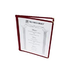 "Menu Cover, Clear 2 Panel Booklet Style 8 1/2"" x 11"" - Maroon Trim, PLMENU-2MA by Thunder Group."