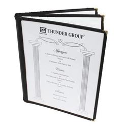 "Menu Cover, Clear 3 Panel Booklet Style 8 1/2"" x 11"" - Black Trim, PLMENU-L3BL by Thunder Group."