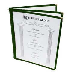 "Menu Cover, Clear 3 Panel Booklet Style 8 1/2"" x 11"" - Green Trim, PLMENU-L3GR by Thunder Group."
