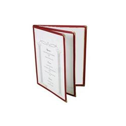 "Menu Cover, Clear 3 Panel Booklet Style 8 1/2"" x 11"" - Maroon Trim, PLMENU-L3MA by Thunder Group."